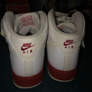 Nike Shoes - mens high tops white and red nike air forces
